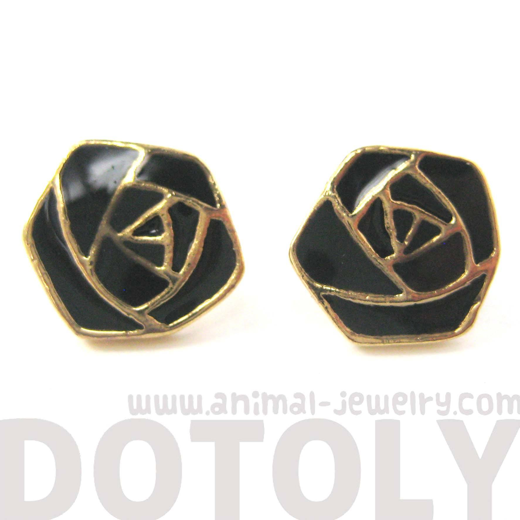 classic-rose-outline-floral-flower-shaped-stud-earrings-in-black-on-gold