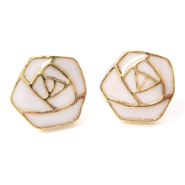 classic-rose-outline-floral-flower-shaped-stud-earrings-in-white-on-gold
