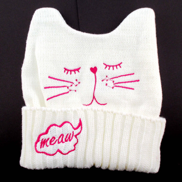 Kitty Cat Shaped Animal Themed Knit Beanie in White