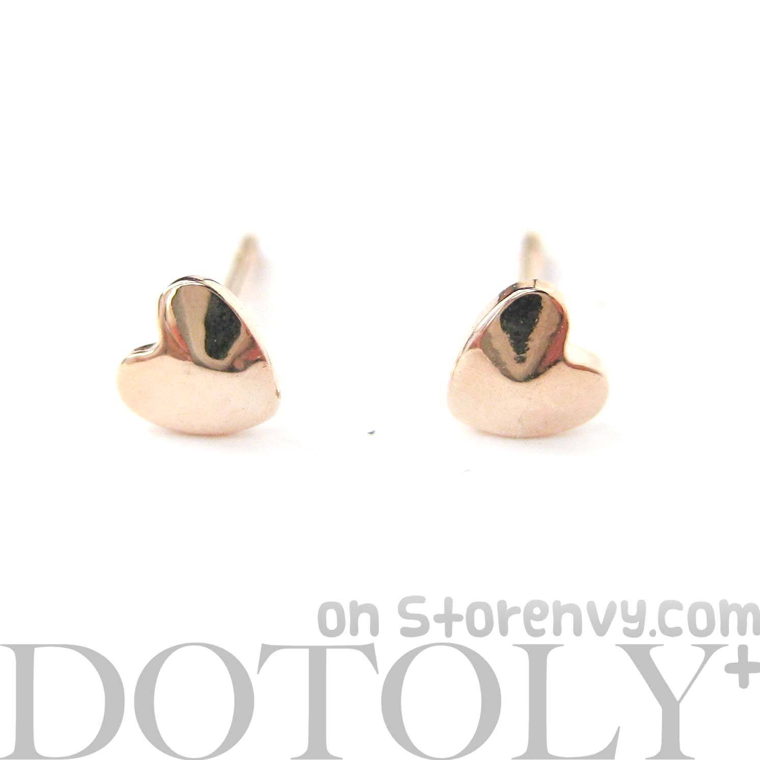 Tiny Classic Heart Shaped Stud Earrings in Rose Gold | DOTOLY