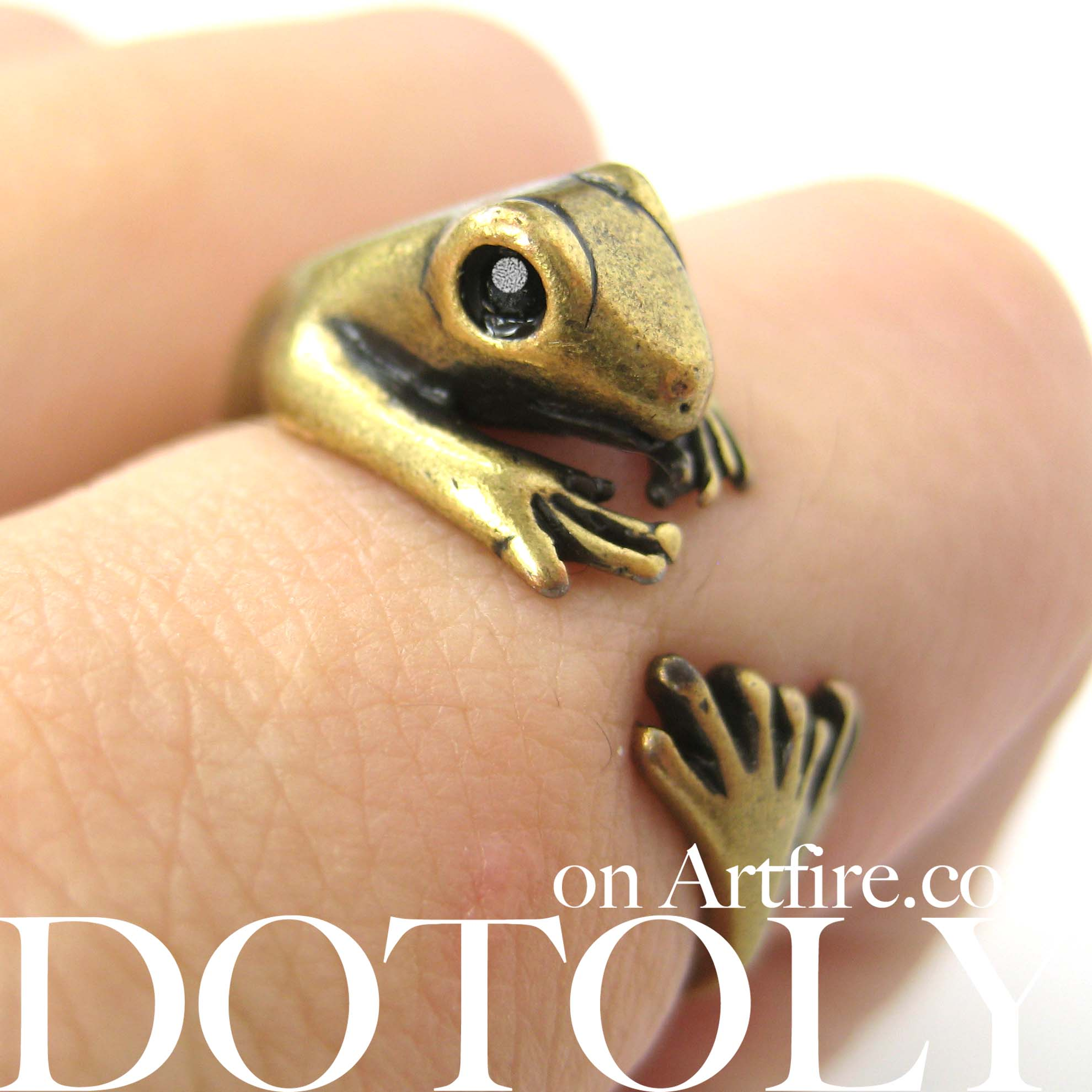 lizard-gecko-animal-wrap-ring-in-brass