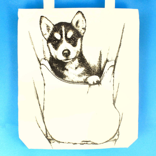 Baby Siberian Husky Puppy Dog Animal Print Tote Bag | 100% Natural Cotton | DOTOLY