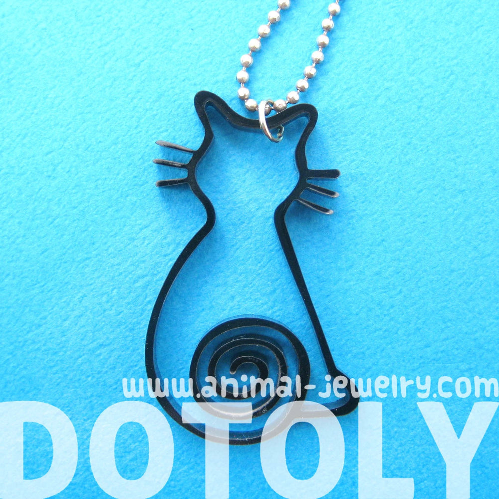 kitty-cat-outline-shaped-animal-themed-pendant-necklace-in-black-acrylic
