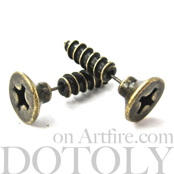 fake-gauge-stud-earrings-bronze-screws
