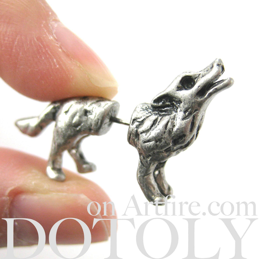wolves-wolf-animal-fake-gauge-earrings-silver-men-women