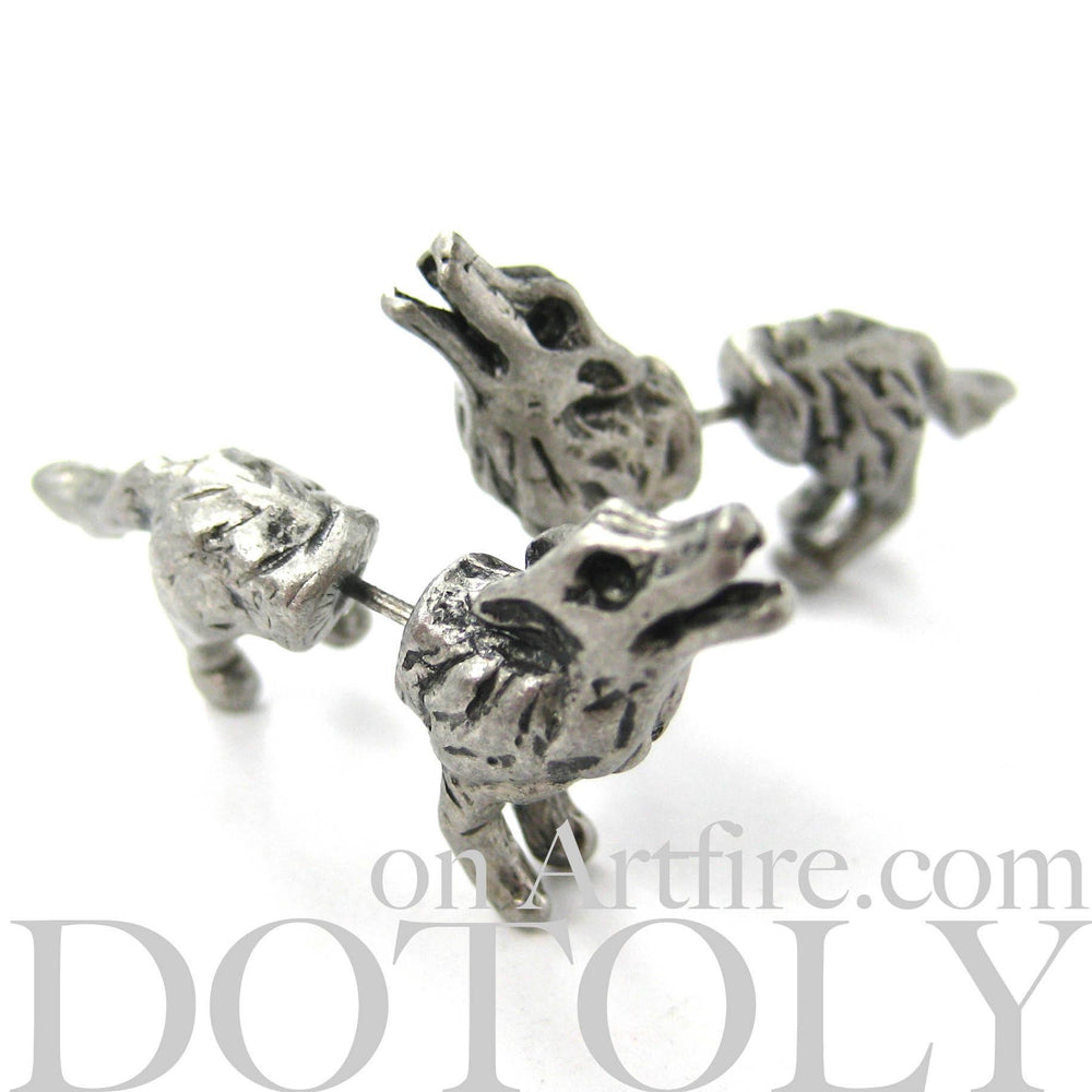 Fake Gauge Earrings: Realistic Wolf Fox Animal Shaped Plug Earrings in Silver
