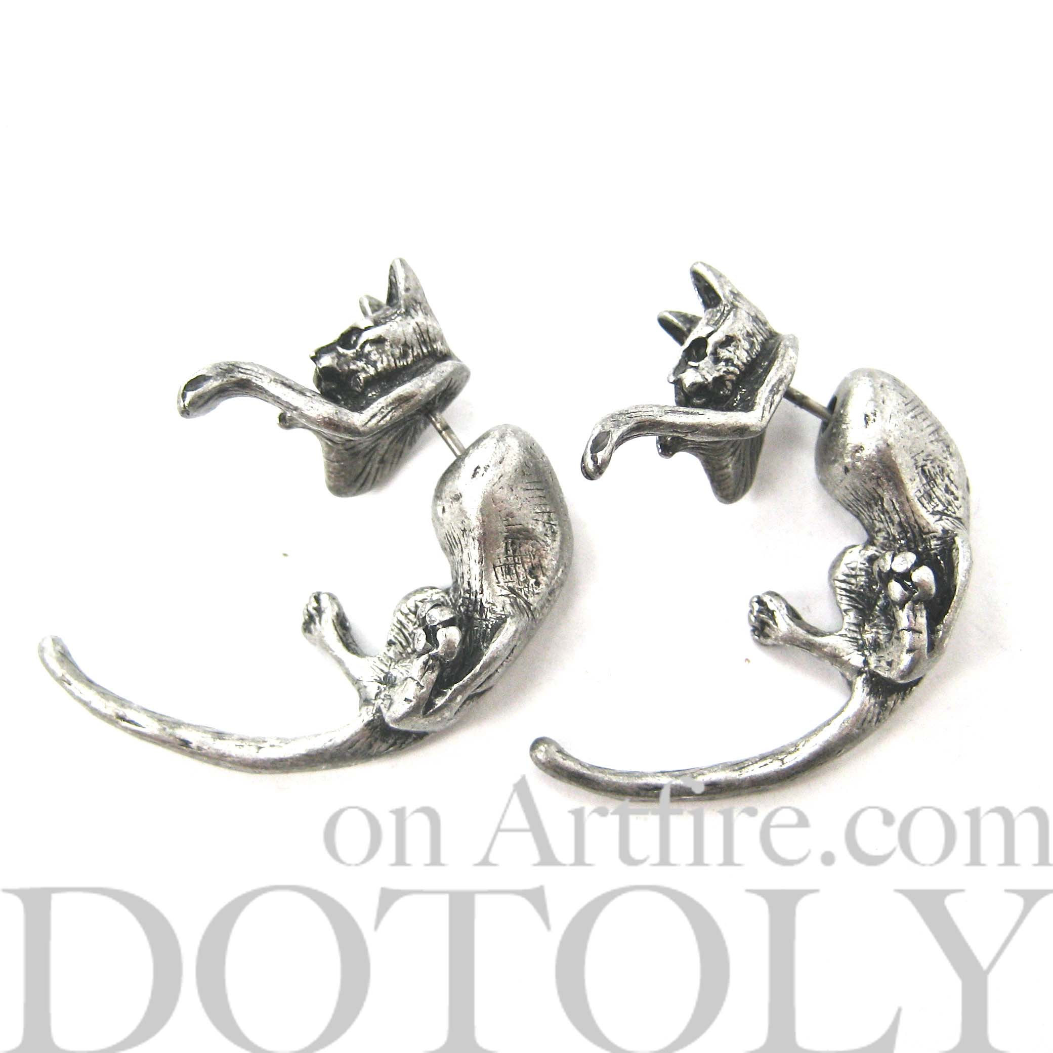 kitty-cat-animal-fake-gauge-earrings-dotoly-animal-jewelry