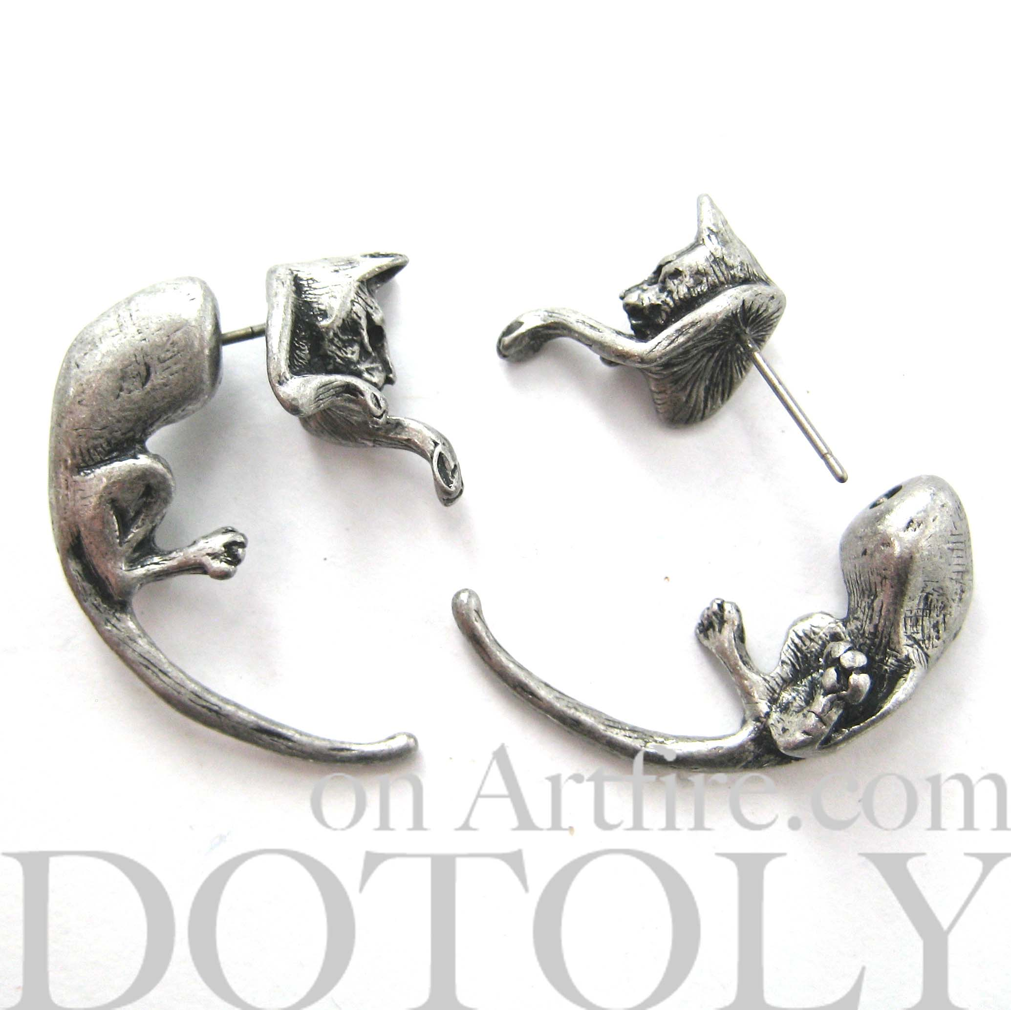 kitty-cat-animal-fake-gauge-earrings-silver