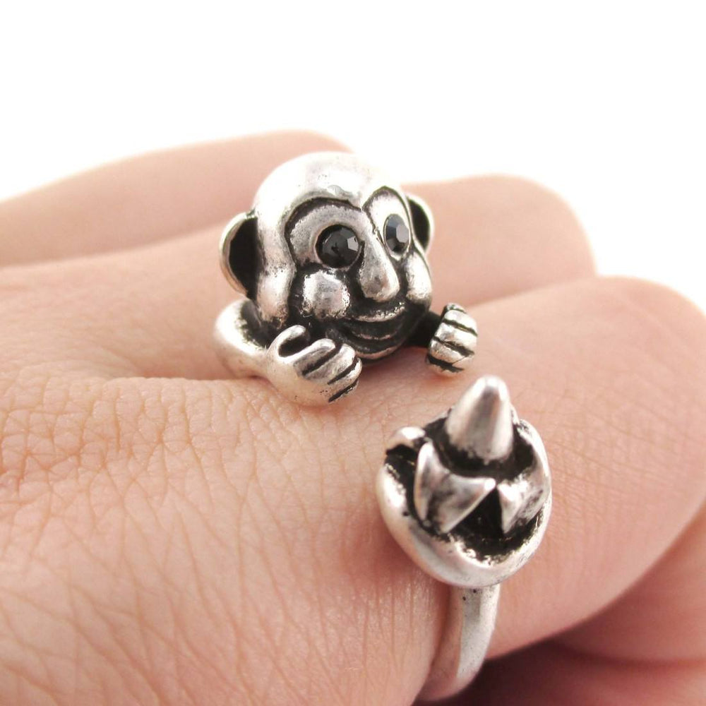 Chimpanzee Animal Wrap Ring with Banana in Silver