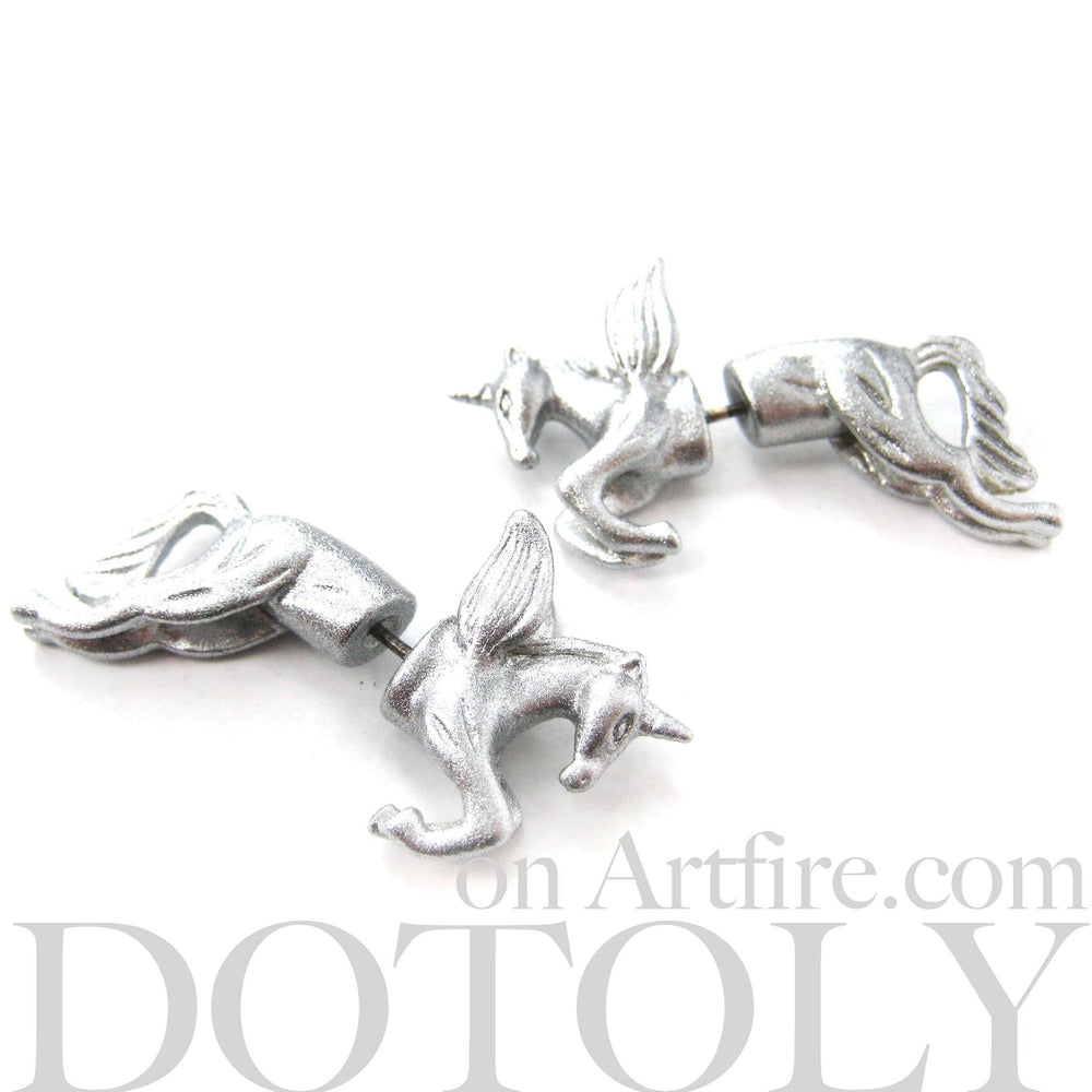 unicorn-fake-gauge-animal-earrings-silver-dotoly