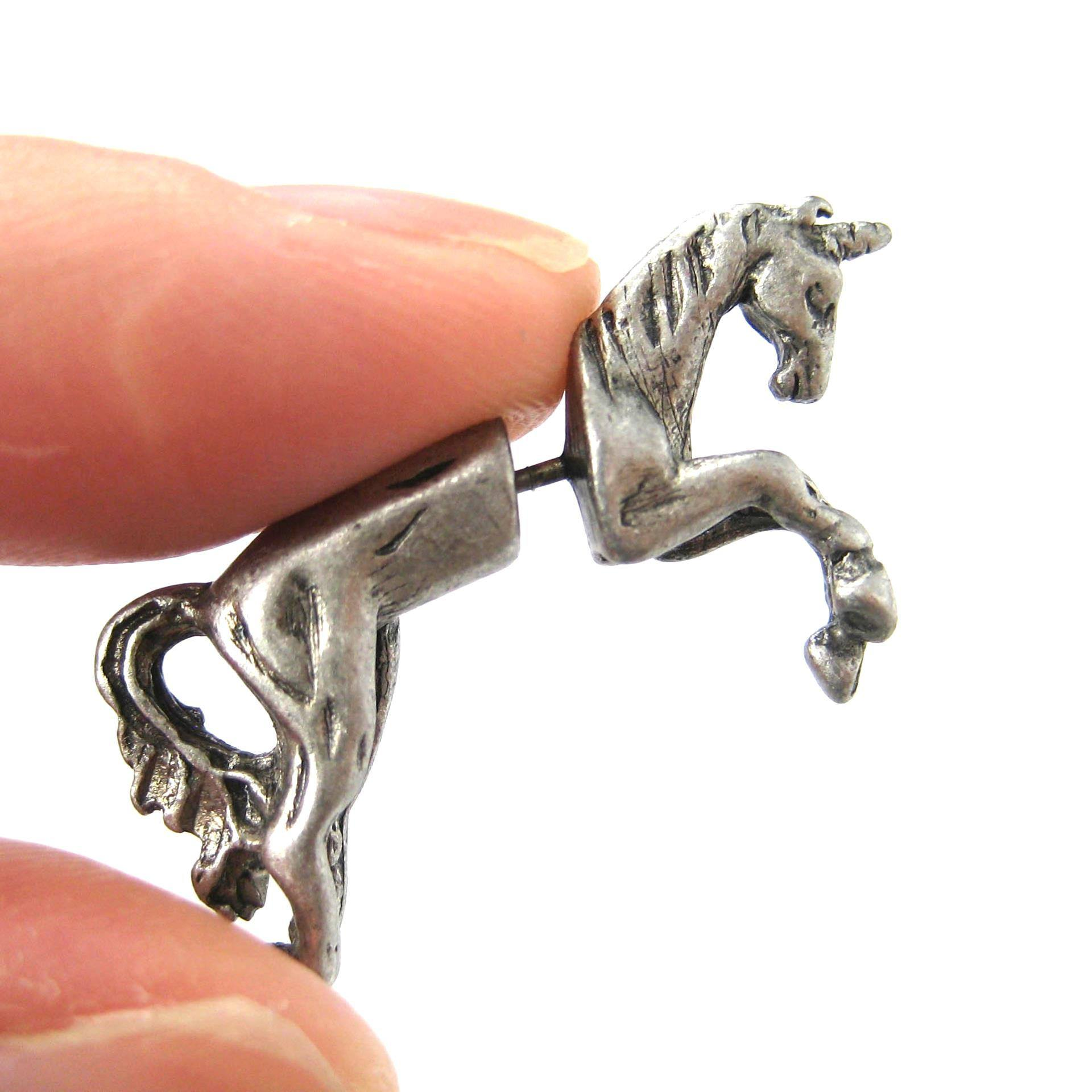 unicorn-fake-gauge-earrings-silver