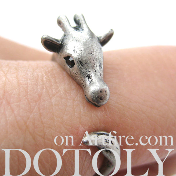 Mother Giraffe Animal Wrap Around Ring in Silver - Sizes 4 to 9 Available | DOTOLY