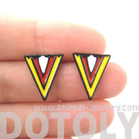 geometric-arrow-shaped-chevron-print-stud-earrings-in-red-white-and-yellow
