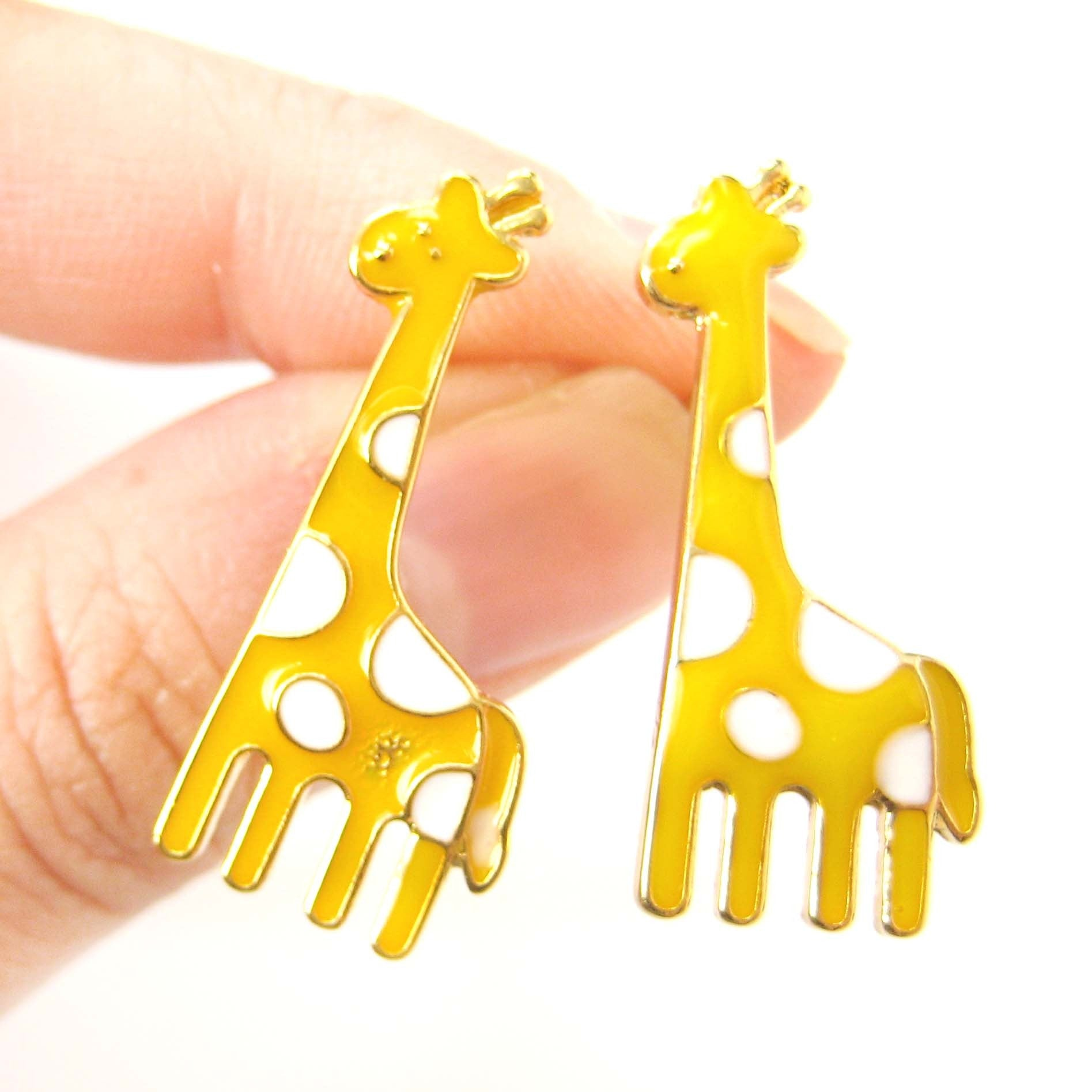 large-giraffe-shaped-stud-earrings-in-yellow-with-white-polka-dots