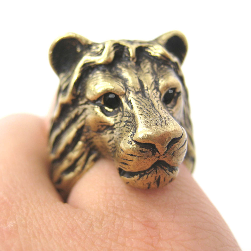 lion-adjustable-animal-ring-brass