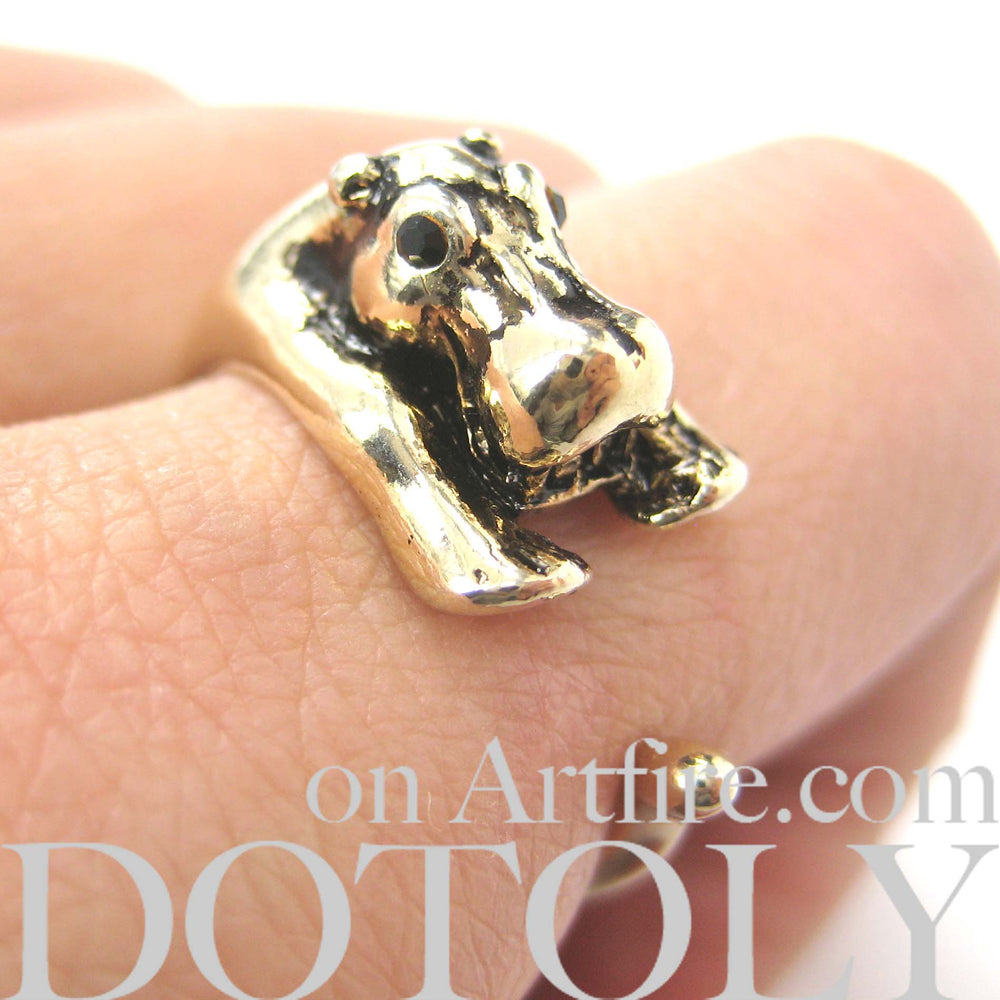 Hippo hippopotamus Animal Wrap Ring in Shiny Gold - Sizes 4 to 9 Available | DOTOLY
