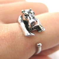 Hippo hippopotamus Animal Wrap Ring in Shiny Silver - Sizes 4 to 9 Available | DOTOLY