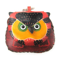 Owl Bird Animal Handmade Coin Purse with Wrist Strap and Key Split Ring | DOTOLY