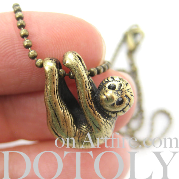 Sloth Baby Animal Pendant Necklace Realistic and Cute in Brass | DOTOLY