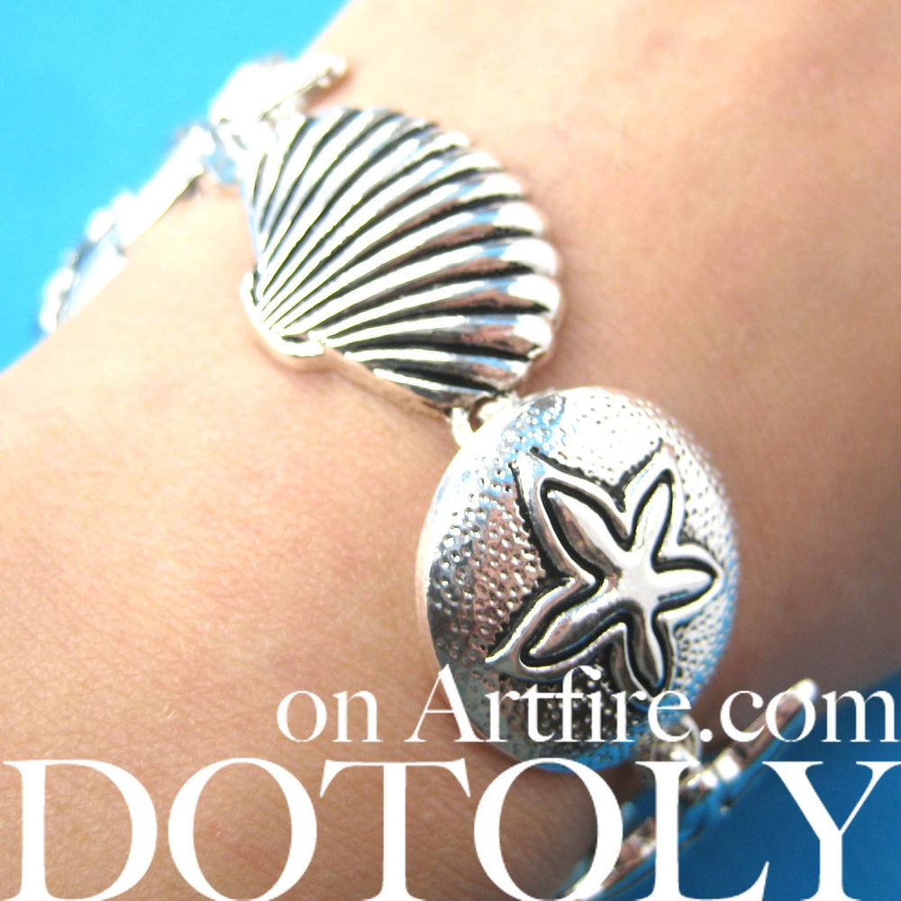 starfish-and-seashells-themed-charm-bracelet-in-silver