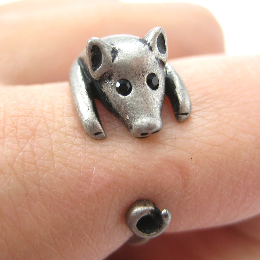 Pig Piglet Animal Wrap Around Ring in Silver - Sizes 4 to 8.5 Available | DOTOLY