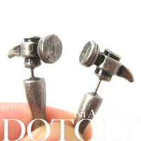 Fake Gauge Earrings: Realistic Hammer Shaped Faux Plug Stud Earrings in Silver | DOTOLY