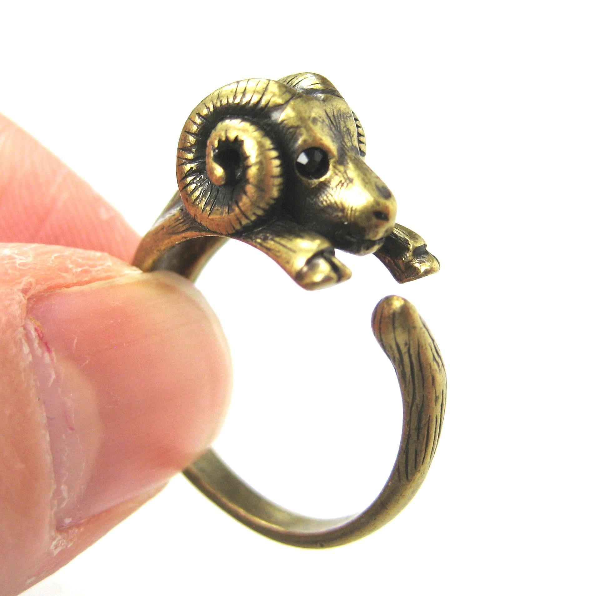 sheep-ram-animal-wrap-ring-in-brass