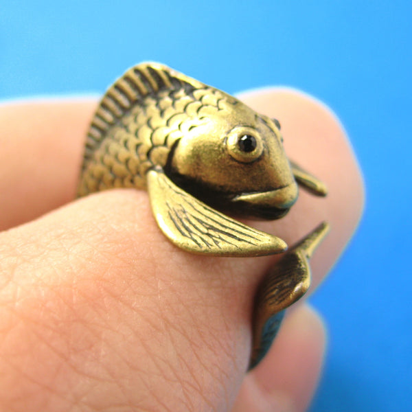Koi Fish Sea Animal Wrap Around Ring in Brass - Sizes 4 to 9 Available | DOTOLY