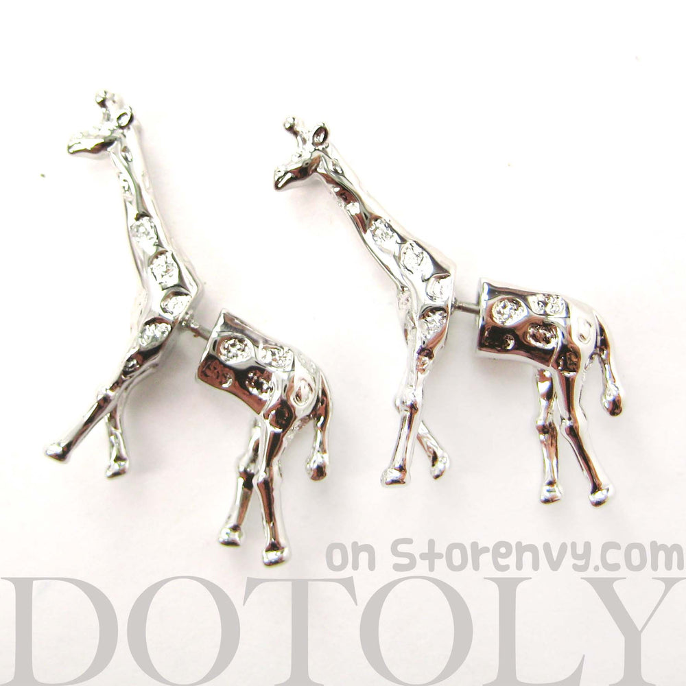 giraffe-animal-fake-gauge-earrings-silver-cute