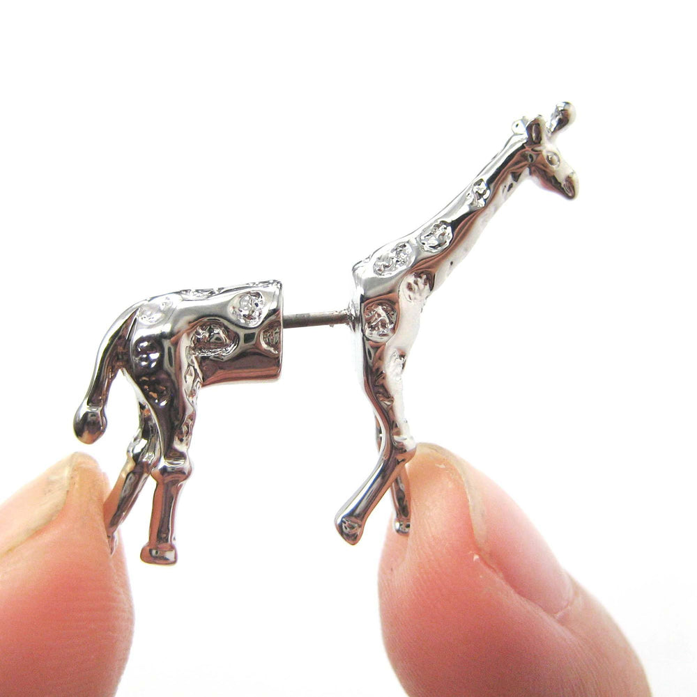 giraffe-animal-fake-gauge-earrings-silver