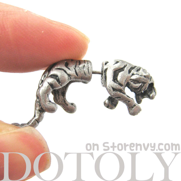 Fake Gauge Earrings: Realistic Tiger Cat Shaped Plug Earrings in Silver | DOTOLY
