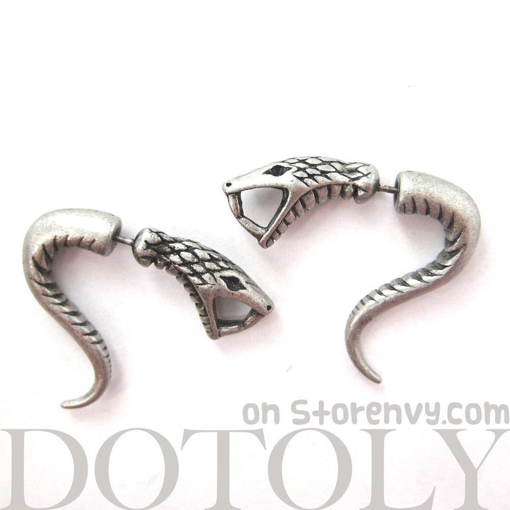 cobra-snake-fake-gauge-earrings-animal-jewelry