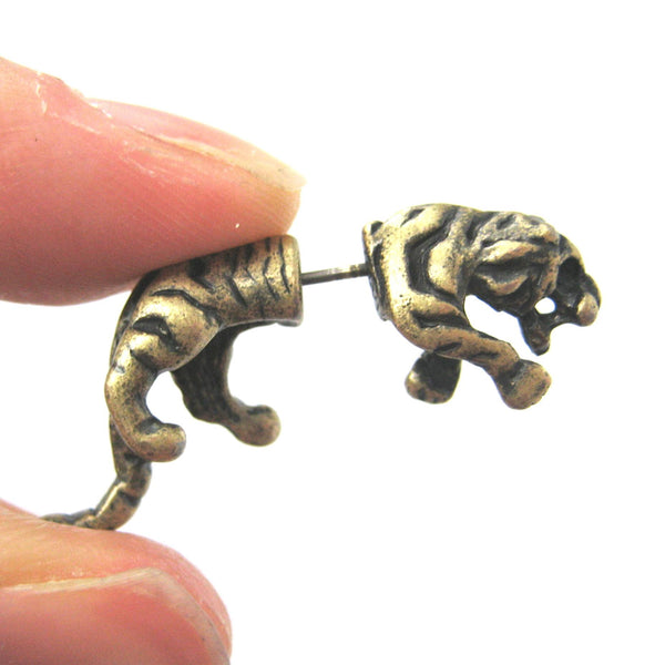 Fake Gauge Earrings: Realistic Tiger Cat Shaped Plug Earrings in Brass | DOTOLY