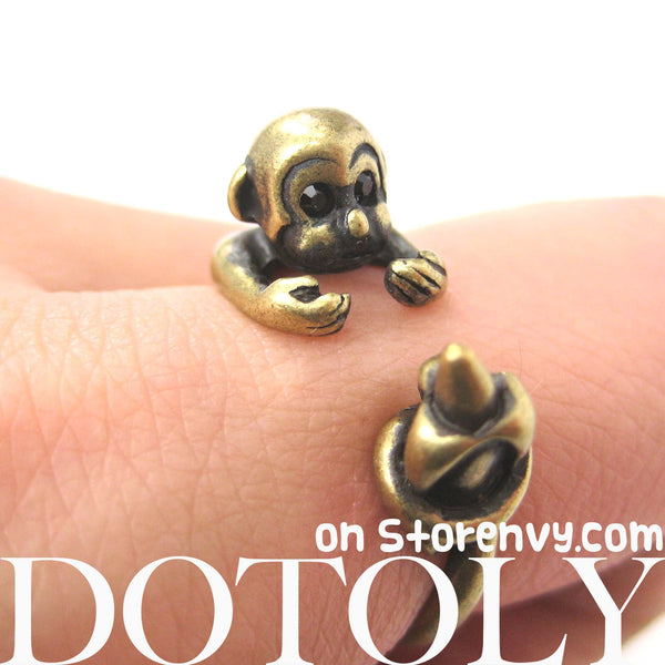Monkey Animal Wrap Ring with Banana in Brass - Sizes 4 to 9 Available | DOTOLY