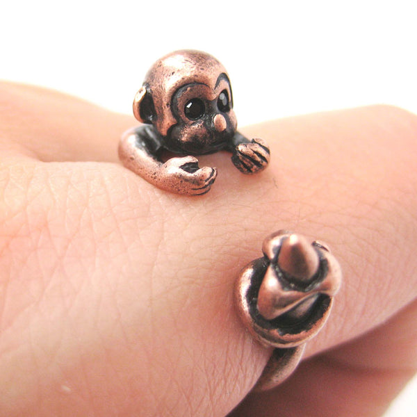 monkey-animal-wrap-ring-with-banana-in-copper