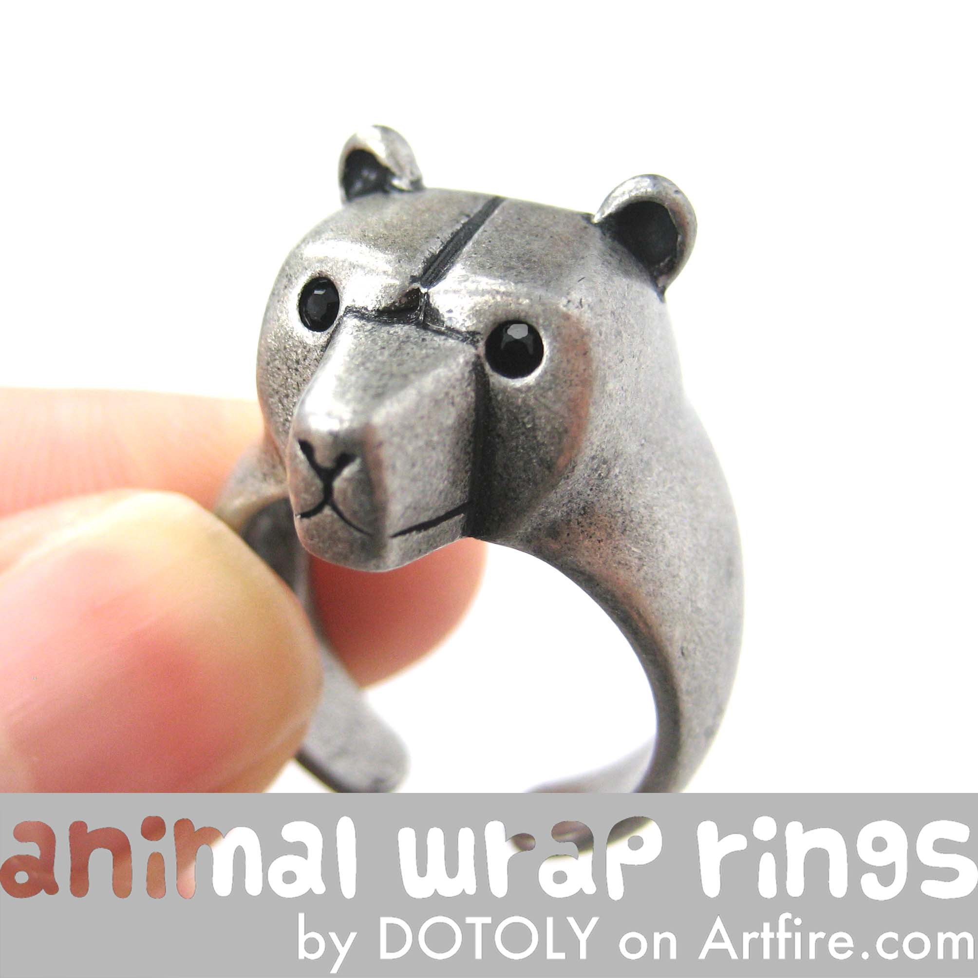 adjustable-polar-bear-animal-ring-silver-dotoly