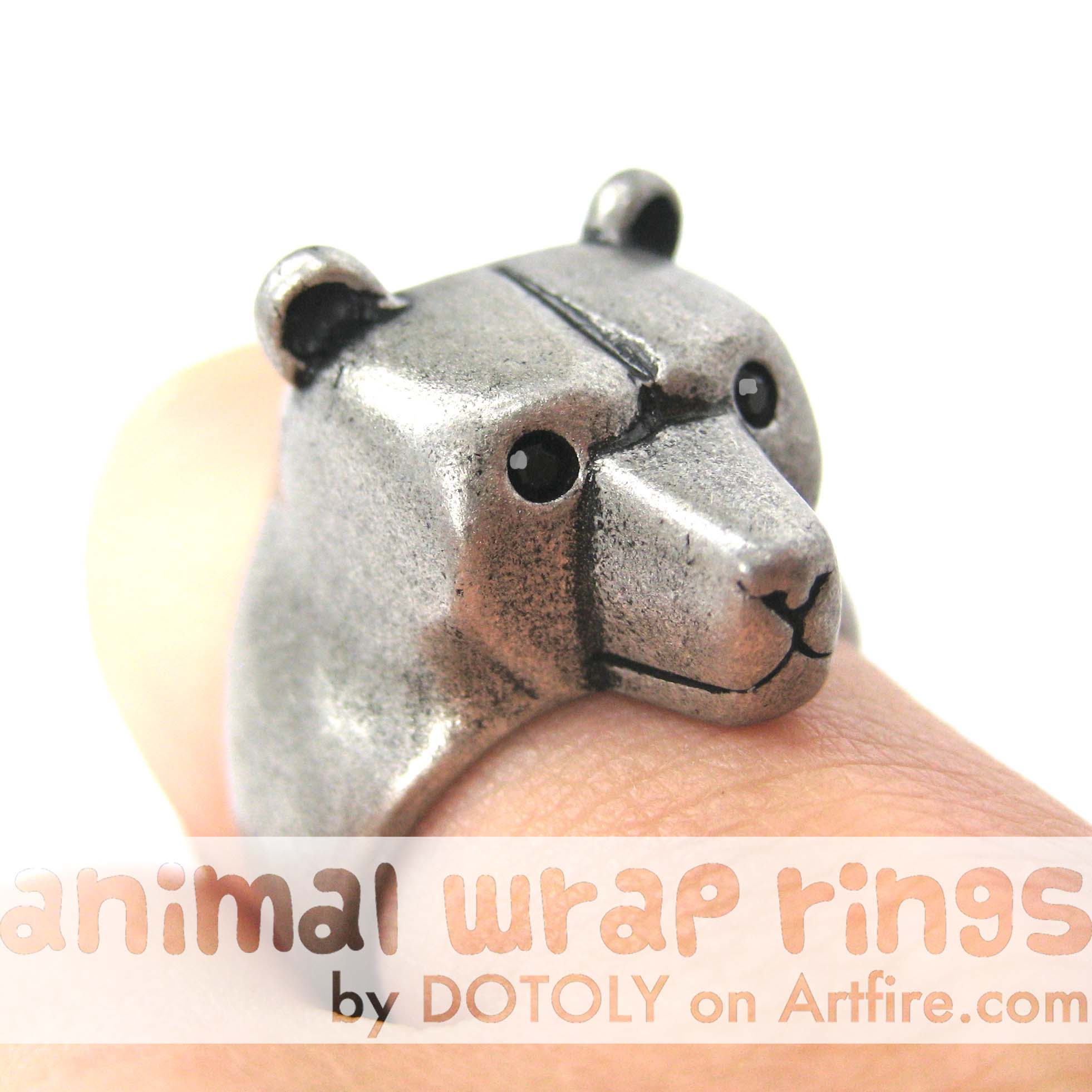 adjustable-polar-bear-animal-ring-silver