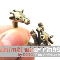 Giraffe Mother and Baby Animal Wrap Around Ring in Brass - Sizes 5 to 9 Available | DOTOLY