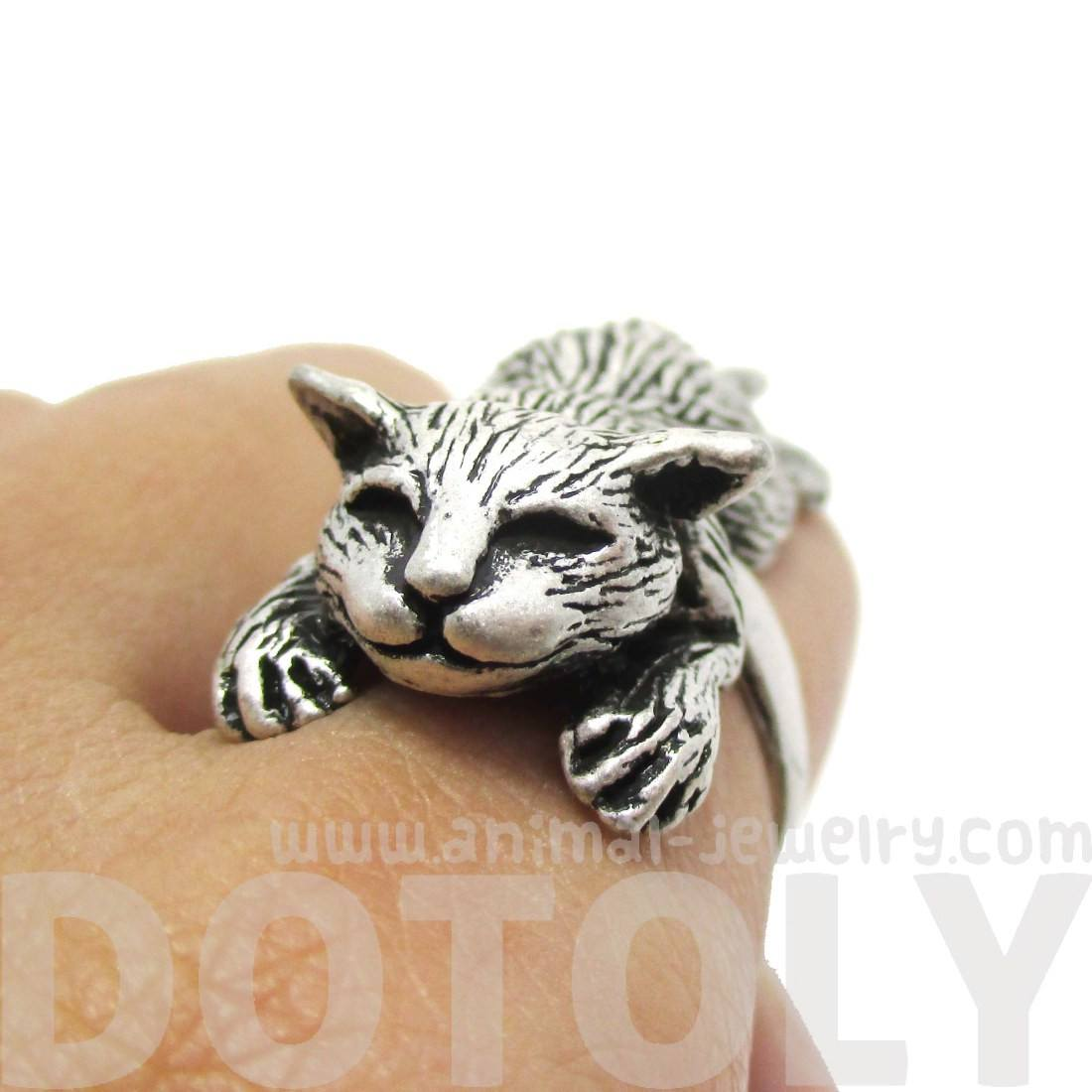 3D Sleeping Kitty Cat Shaped Animal Ring in Silver