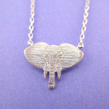 Minimal Elephant Face Shaped Charm Necklace in Silver | Animal Jewelry
