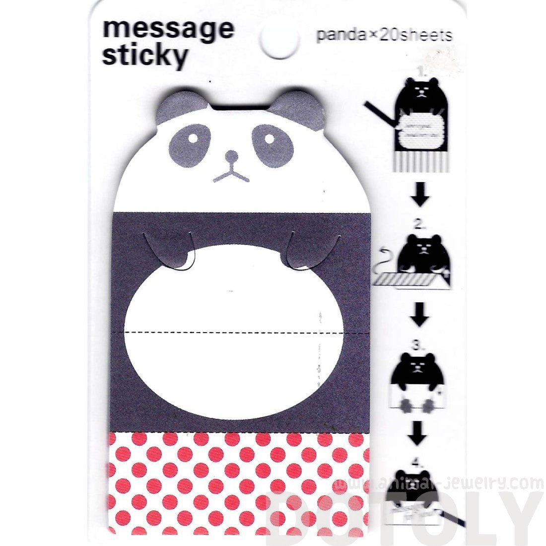 Panda Bear Animal Themed Adhesive Memo Message Post-it Letter Pad