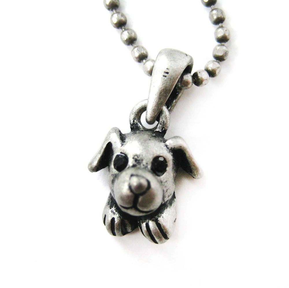 Puppy Dog Adorable Animal Charm Necklace in Silver | Animal Jewelry