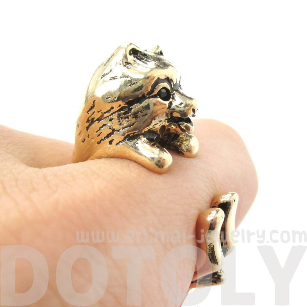 Realistic Pomeranian Pom Puppy Dog Shaped Animal Wrap Ring in Gold