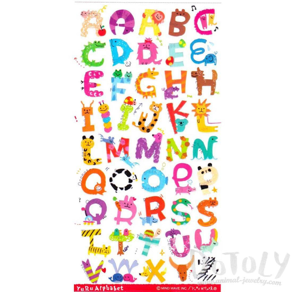 Adorable Animal Shaped Alphabet ABC Letters Typography Stickers