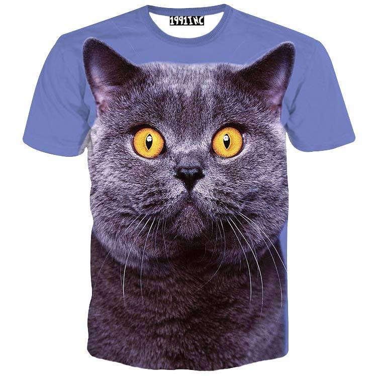 Grey British Shorthair Kitty Cat Print Graphic T-Shirt