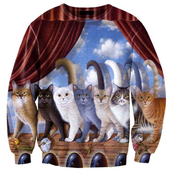 A Row of Kitty Cats Graphic Print Unisex Oversized Pullover Sweater