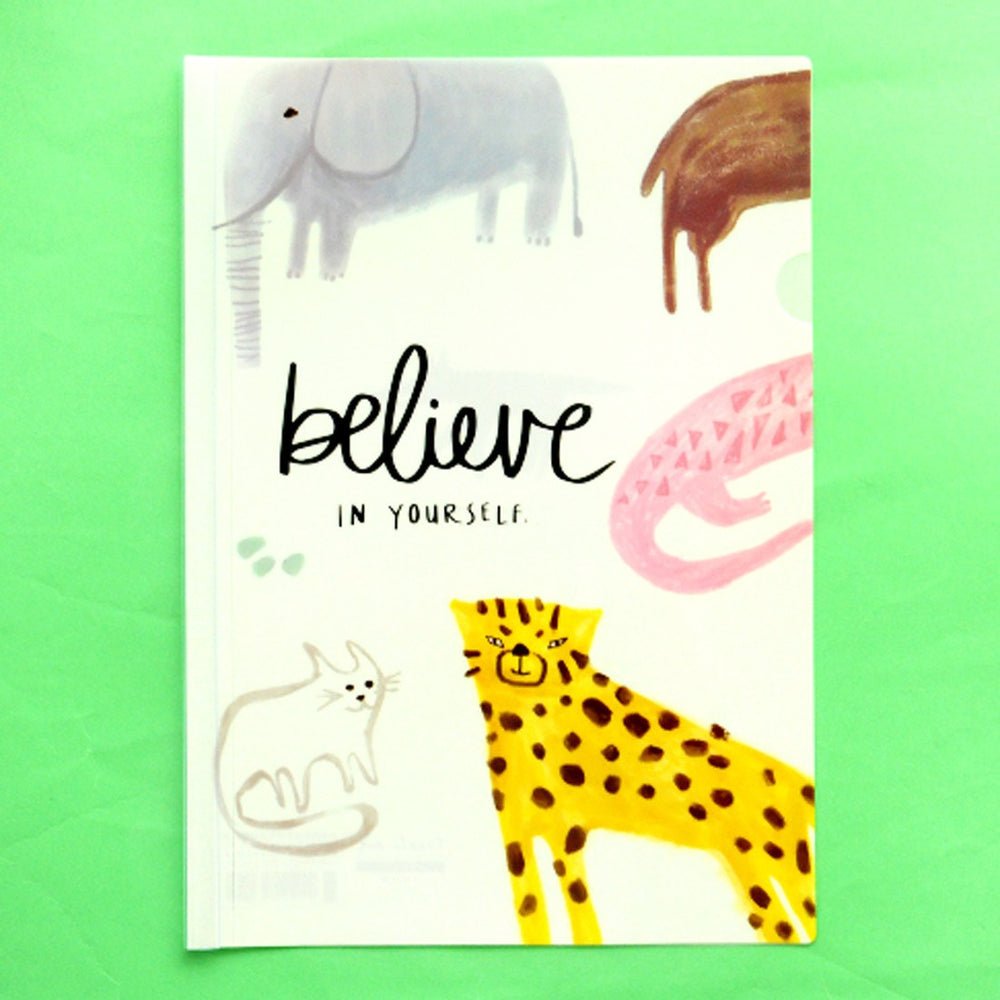 "A4 Elephant Leopard Print ""Believe in Yourself"" Quote Plastic Clear Folder 