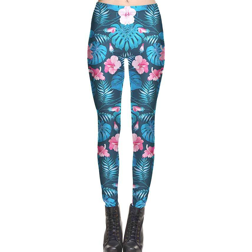 Abstract Botanical Print Leaves and Floral Legging Pants in Blue