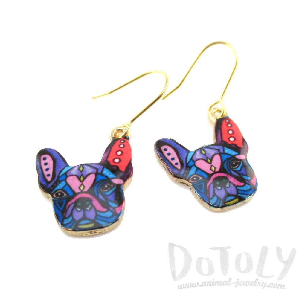 Abstract Colorful French Bulldog Puppy Shaped Earrings