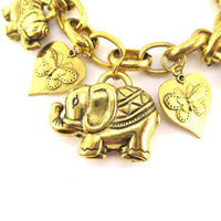 Abstract Elephant Shaped Charm Bracelet in Gold | Animal Jewelry